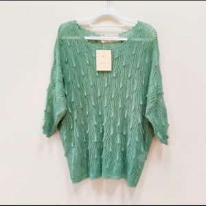 NWT! A'reve Green Open Knit Crochet Sweater-M/L
